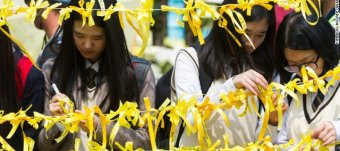 Yellow ribbons South Korea ferry