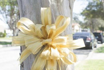 Yellow bow wrapped around a Tree