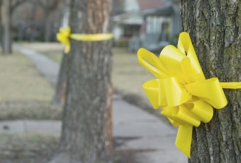 Yellow ribbon tied around a tree meaning